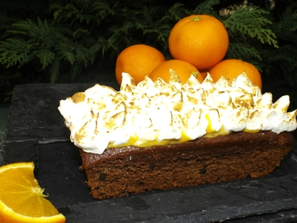 Gâteau Chocolat & Pépites de chocolat à l'orange meringuée