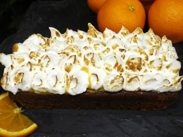 Gâteau Chocolat & Pépites de chocolat à l'orange meringuée4