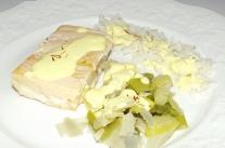 Saumon sauce safranée et sa fondue de poireaux3