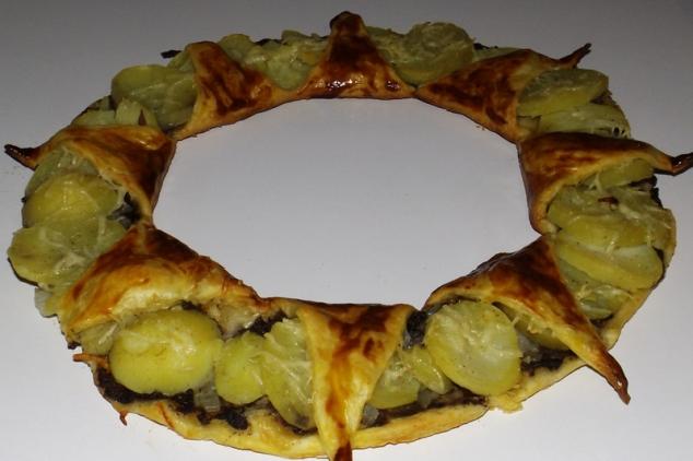 tarte couronne au boudin noir et aux pommes de terre